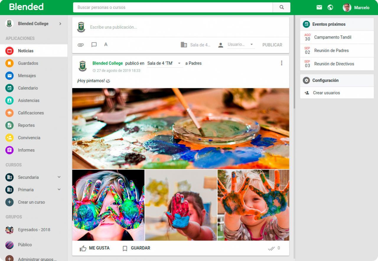 La plataforma Blended funciona como una red social para la comunidad escolar.