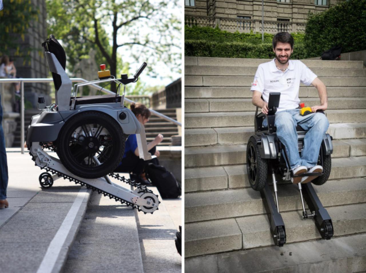 Estudiantes inventan una silla de ruedas que sube for Silla que se hace escalera